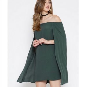 Off The Shoulder Dress w/ Cape from F21